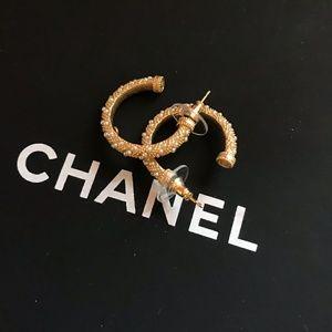 Gold tone Chanel hoop earrings
